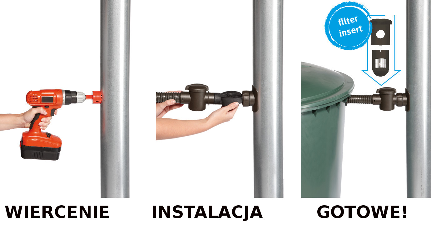 zbieracz łapacz wody deszczowej speedy bardzo szybki montaż 5 minut